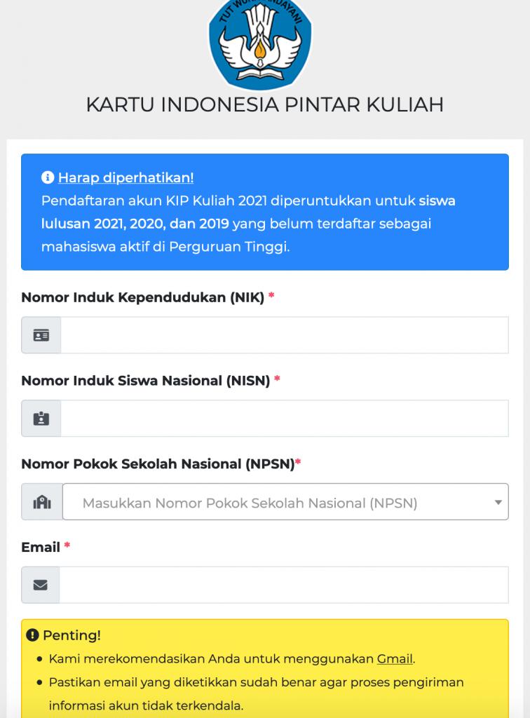 Form Pendaftaran Akun