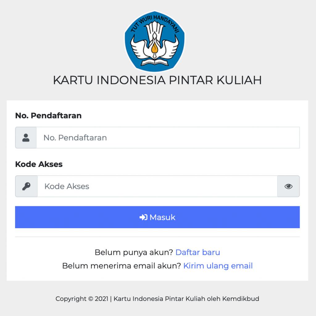 Halaman login SIM KIP Kuliah