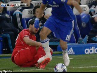 Diego Costa Menginjak Kaki Emre Can. Photo Credit : Skysports