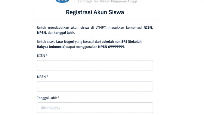 Laman Registrasi LTMPT