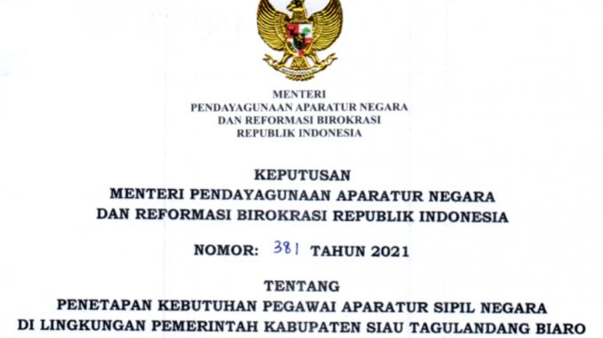 CPNS 2021 Kabupaten Siau Tagulandang Biaro